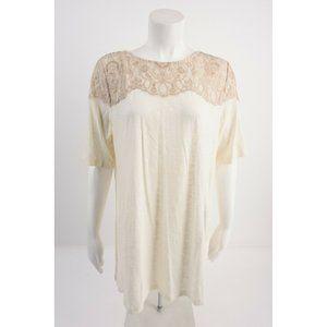 LOGO Lori Goldstein Womens Shirt Top L Off-White